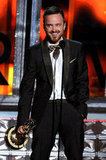 Breaking Bad's Aaron Paul gave a shout-out to his fiancée while accepting the Emmy.