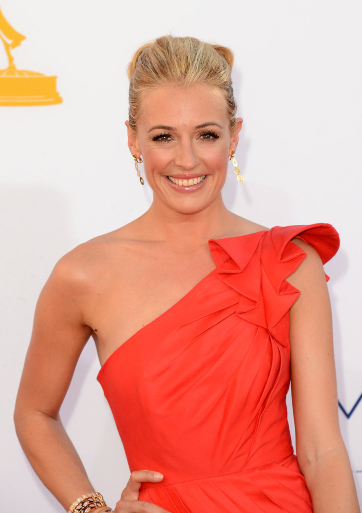 Cat Deeley wore an up-do.
