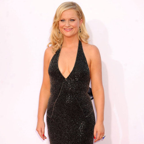 Amy Poehler rocked a deep v-neck dress.