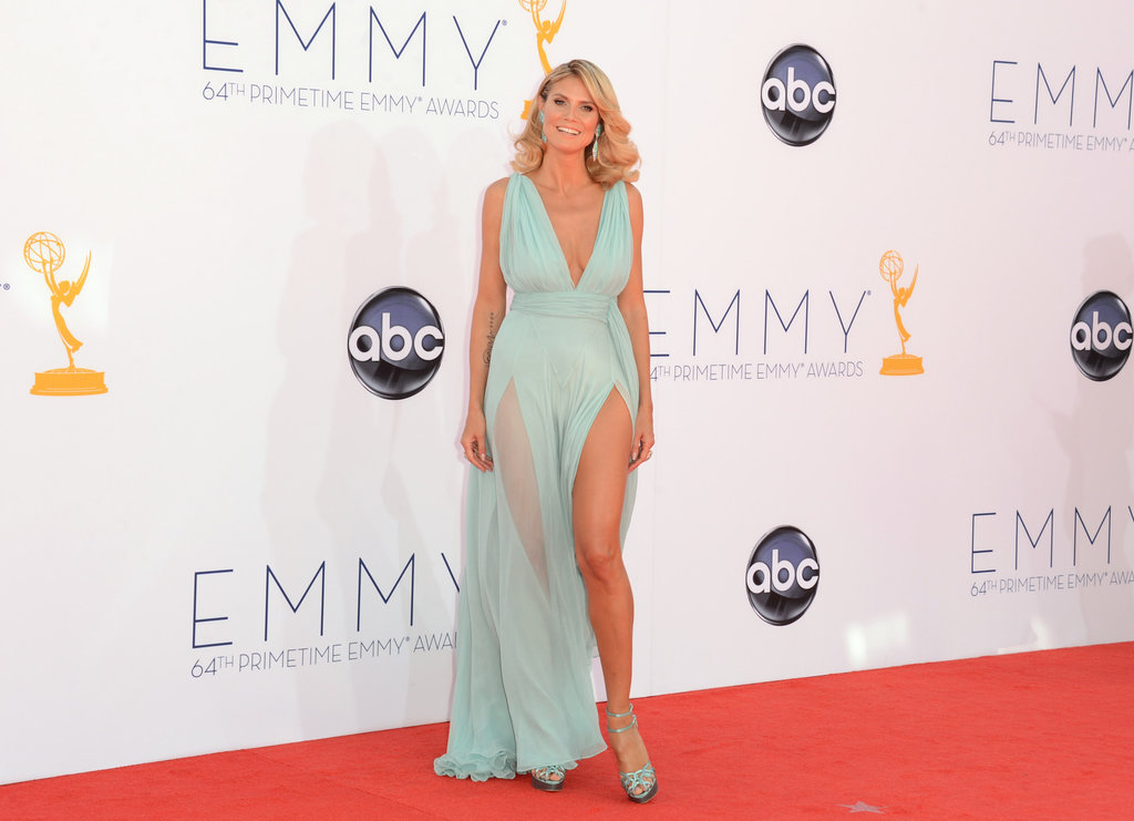 Mom of four Heidi Klum's Alexandre Vauthier gown had two slits to show off her legs.