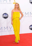 Claire Danes arrived on the red carpet in a yellow Lanvin dress at the 2012 Emmys.