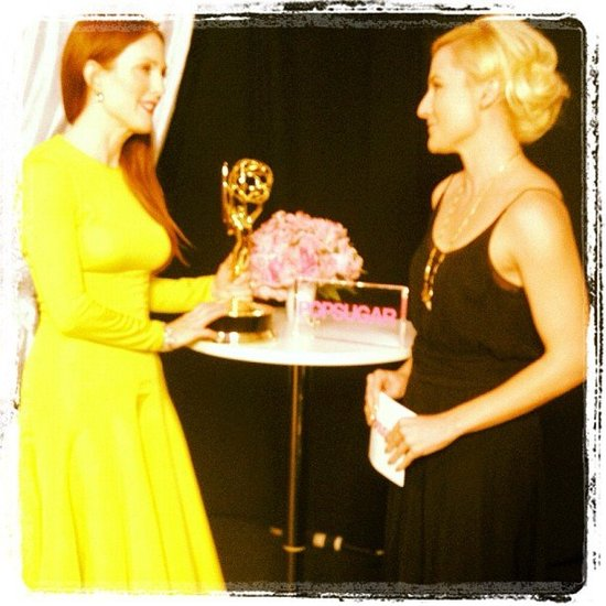 Julianne Moore talked with us about her Emmy win and her fabulous gown. Source: Instagram user popsugar