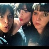 Zooey Deschanel joked around with some friends backstage. Source: Instagram user hellogiggles