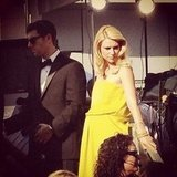 Claire Danes showed off her baby bump in bright yellow. Source: Instagram user vanityfair