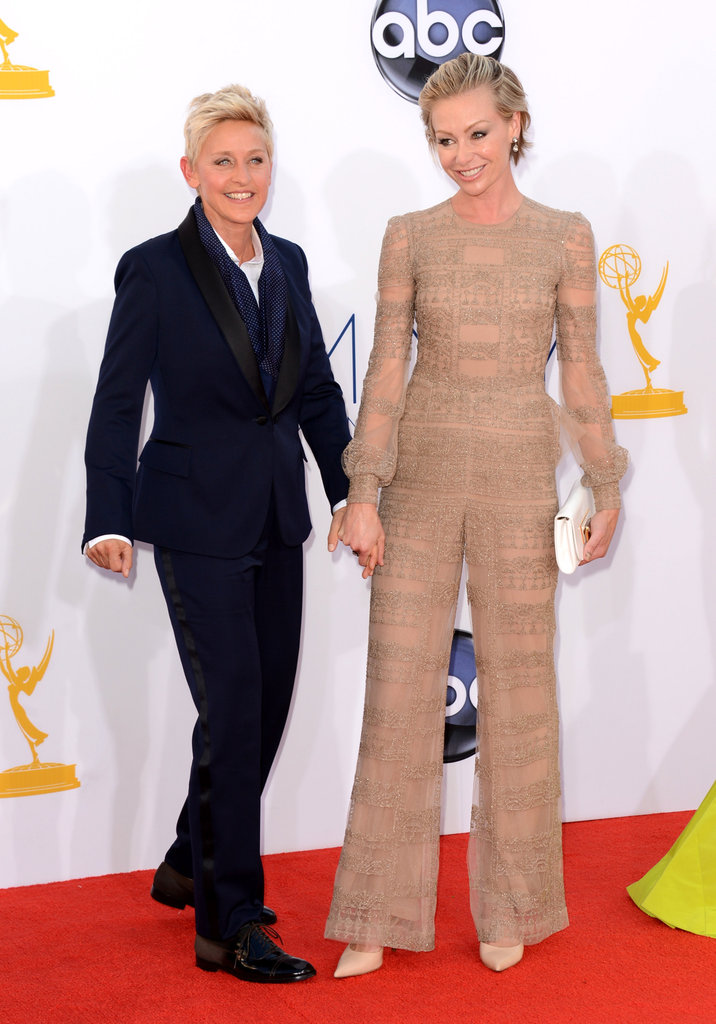 Ellen DeGeneres and Portia De Rossi graced the carpet hand-in-hand.