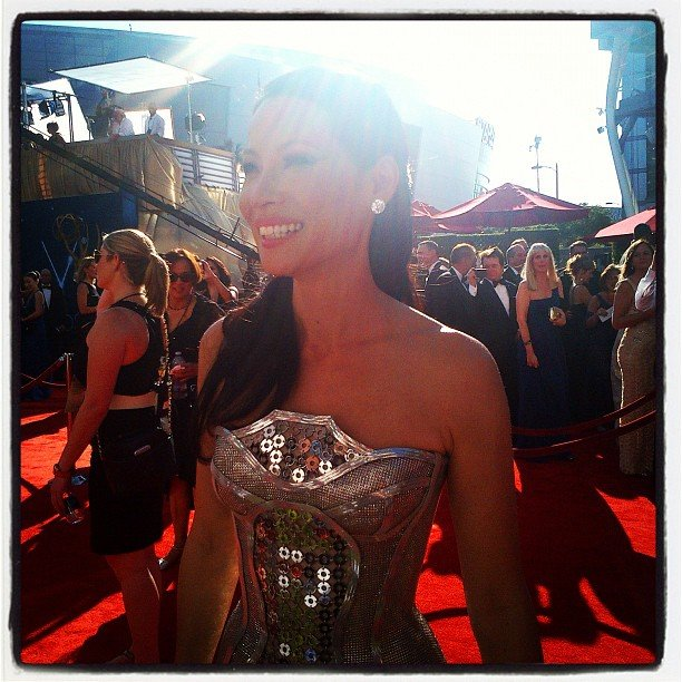 Lucy Liu modeled a metallic gown on the red carpet.  Source: Instagram user instylemagazine