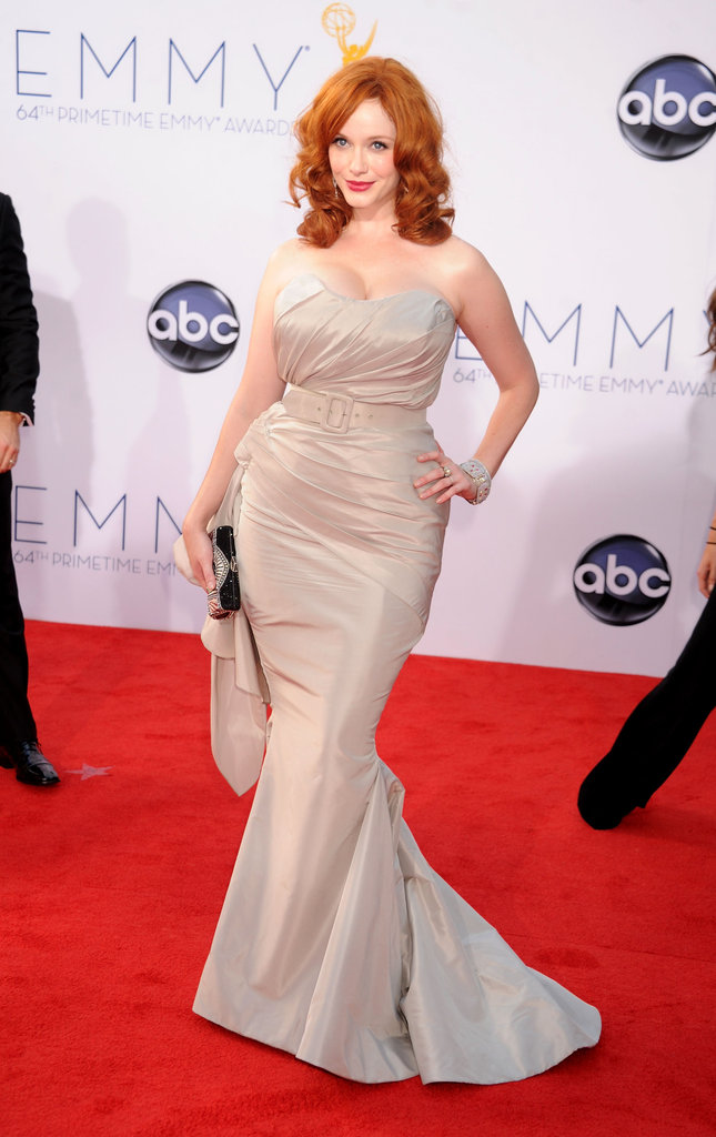 Christina Hendricks showed off her assets in a curve-conscious Christian Siriano gown.