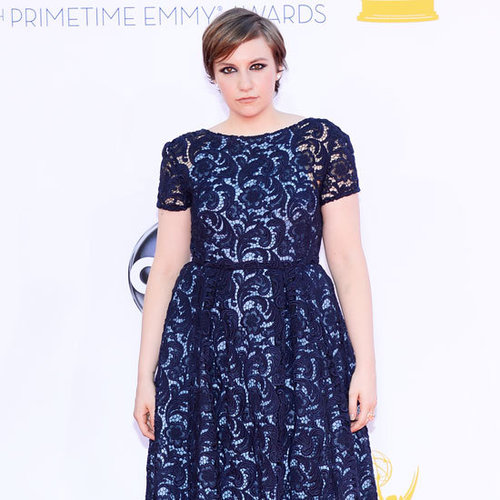 Pictures of Girls Star Lena Dunham in Prada lace dress on the red carpet at the 2012 Emmy Awards