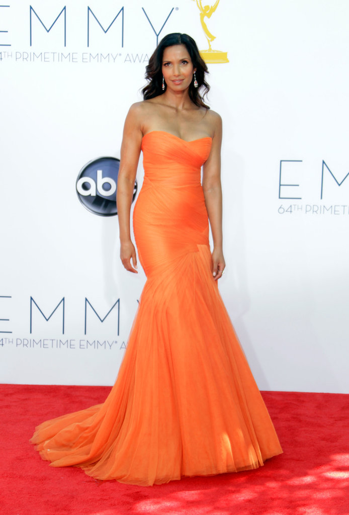 The orange hue wasn't the only reason we noticed Padma Lakshmi's Monique Lhuillier gown; a sexy strapless neckline also made it a standout.