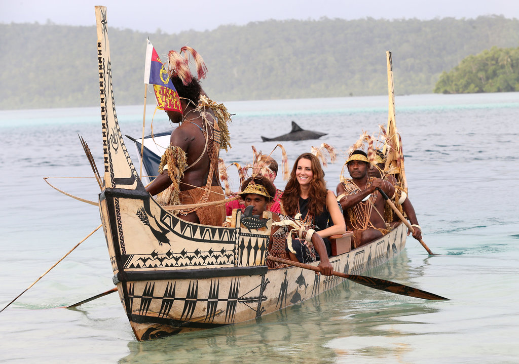 Kate Middleton hopped onboard a traditionally decorated boat in Tuvanipupu.