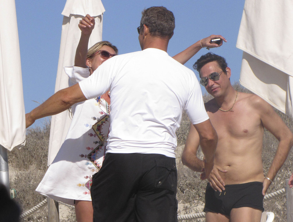 Kate moss greeted friend Vladislav Doronin with husband Jamie Hince in Ibiza.