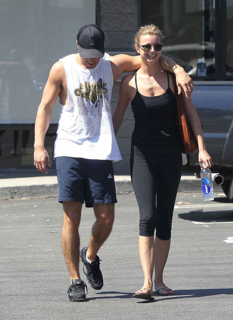 Emily VanCamp and Josh Bowman were all smiles as they left the gym in LA.