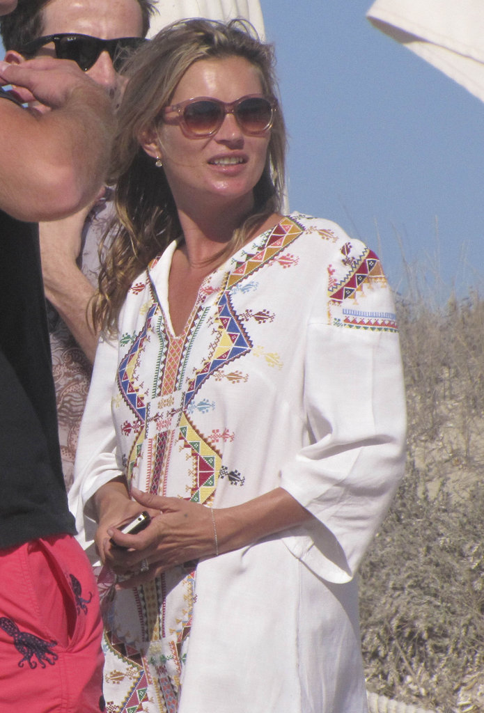 Kate Moss donned a tunic in Ibiza.