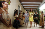 Earlier in the day on Monday Sept. 17, Kate wore a yellow Jaeger dress and nude L. K. Bennett Sledge pumps in Honiara.