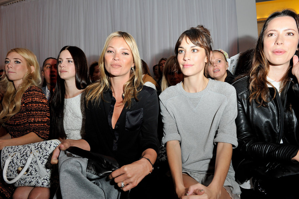 Vanessa Kirby, Lana Del Rey, Kate Moss, Alexa Chung, and Rebecca Hall sat in the front row during the Mulberry Spring/Summer 2013 show.