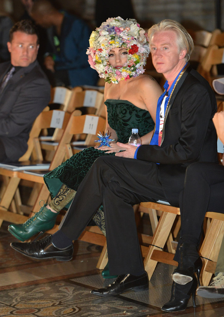 Lady Gaga watched rehearsals with Philip Treacy.