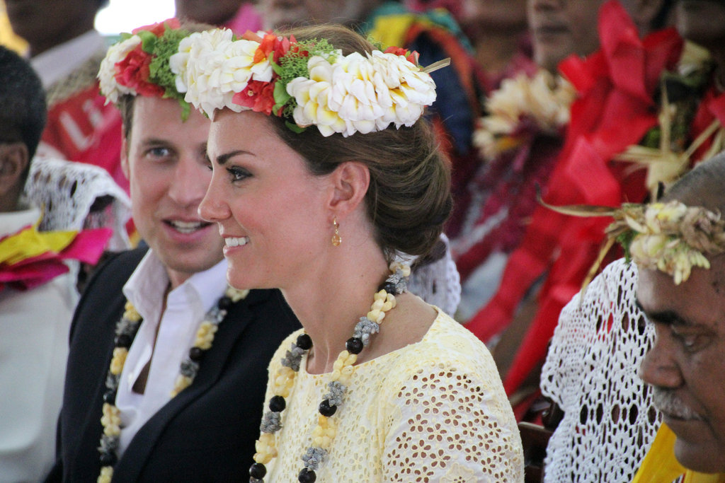 The duke and duchess wore matching head wreaths.