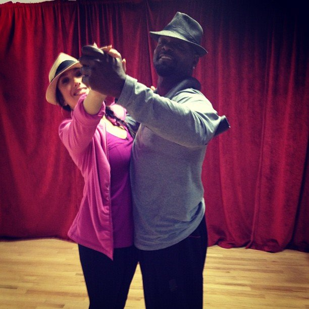 DWTS pair Cheryl Burke and Emmitt Smith practiced their routine. Source: Instagram user cherylburke