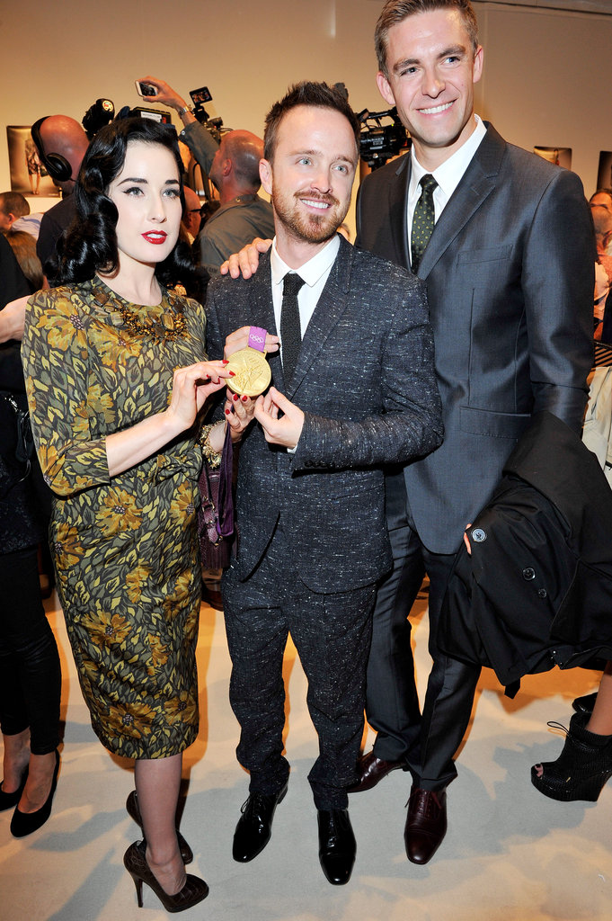 Aaron Paul mingled at Burberry.