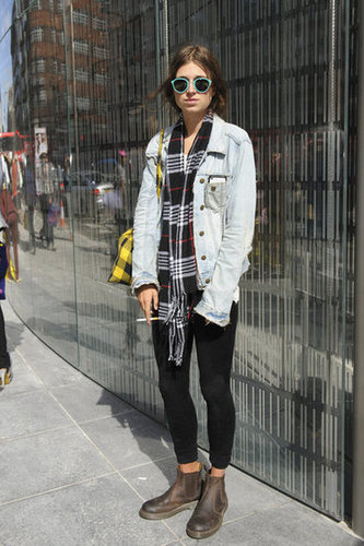 Plaid, a denim jacket, and flat boots all added up to a look with a little '90s nostalgia.