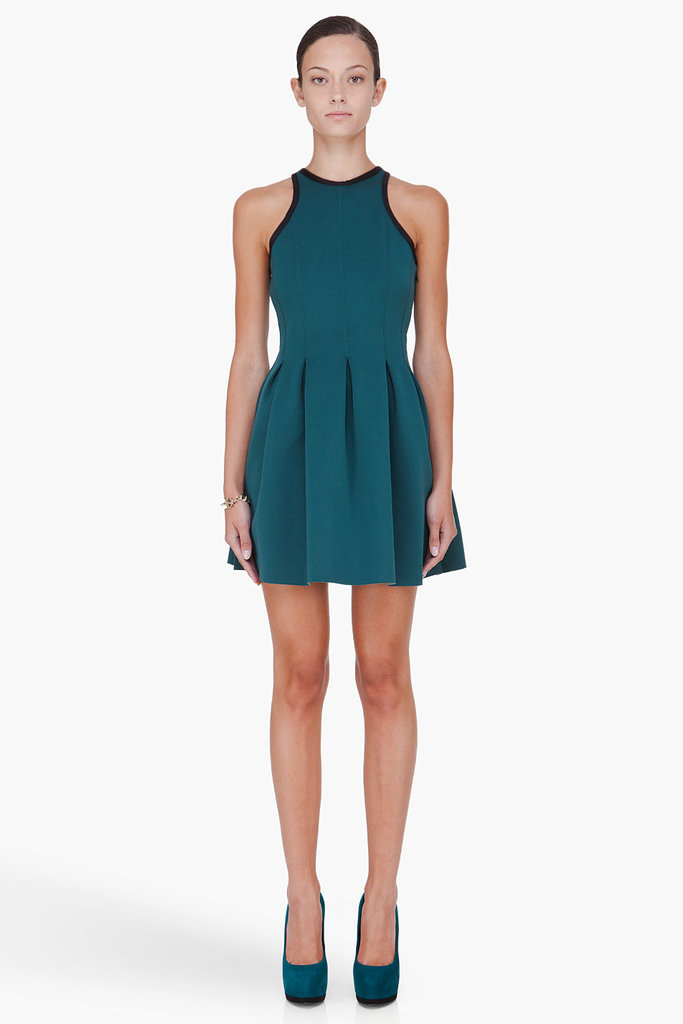 Layer this sporty dress with a turtleneck and tights come Winter.  T By Alexander Wang Green Pleated Neoprene Dress ($325)