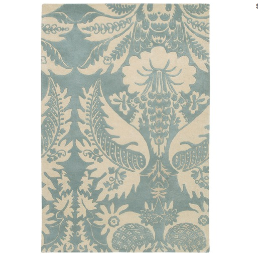 While covering walls with damask paper was a popular trend during the Edwardian period, we like the idea of blowing up the scale and using it on the floor. This Tufted Pile Powder/Cream Damask Rug ($270) feels especially light and airy in pale blue.