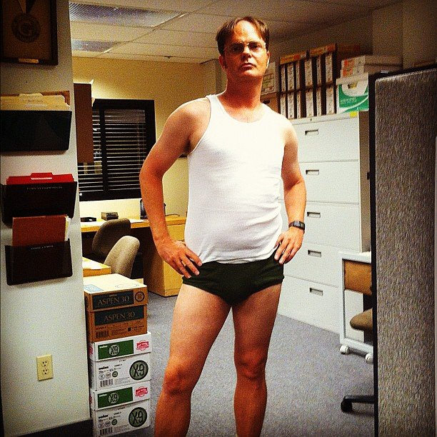 Rainn Wilson casually relaxed on set. Source: Instagram user rainnwilson