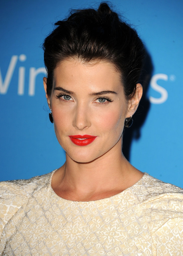 Cobie Smulders wore bright lipstick for the CBS Fall premiere party in LA.