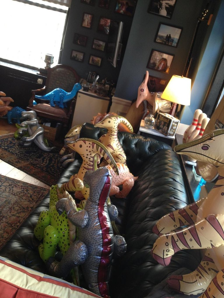 Jimmy Fallon got an office full of dinosaurs on his birthday. Source: Twitter user jimmyfallon
