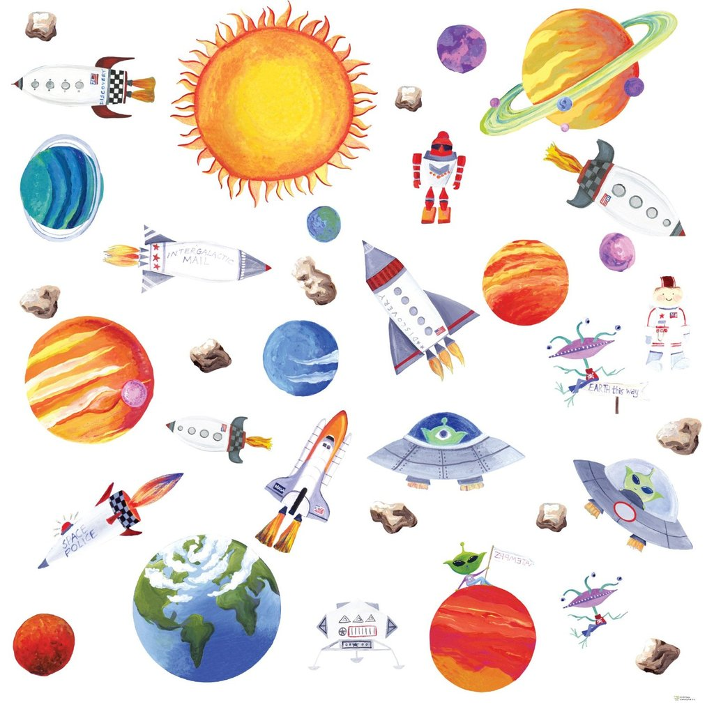 Outer Space Peel-and-Stick Wall Decals ($13)