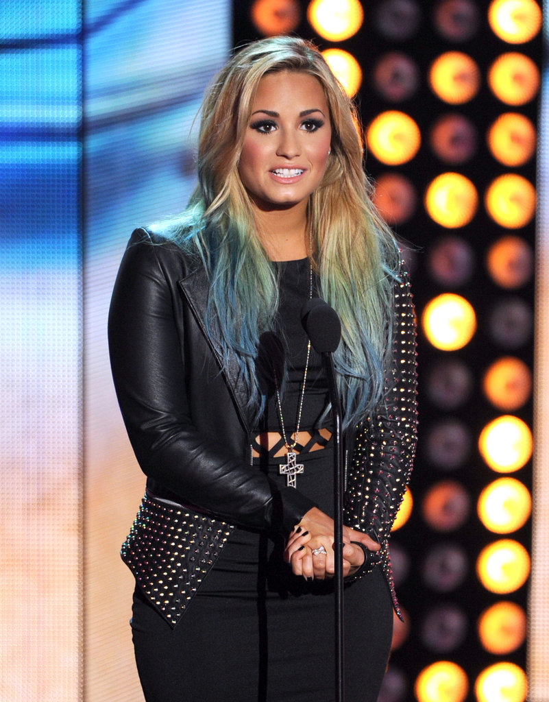 At the 2012 Teen Choice Awards in LA, Demi presented in a stud-sleeve jacket like this Blue Valley heavy stud jacket ($311).
