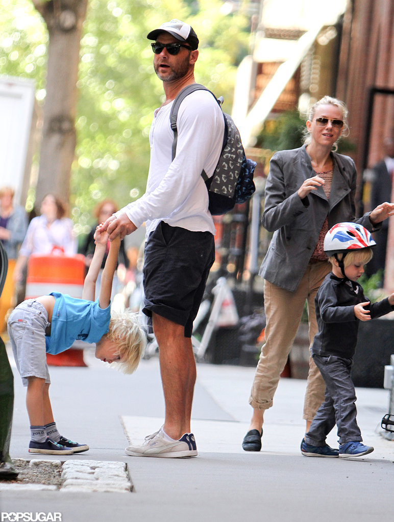 Naomi Watts geared up for a bike ride with Liev Schreiber and her boys, Kai Schreiber and Sasha Schreiber, in NYC.