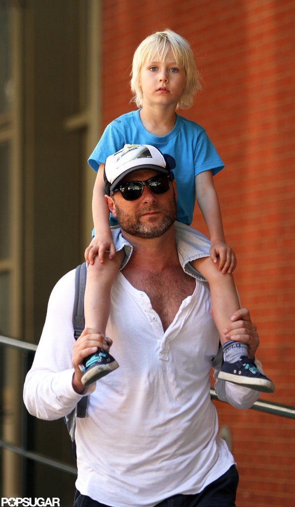 Liev Schreiber gave son Sasha a ride on his shoulders.