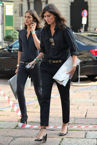 Emmanuelle Alt kept it chic, per usual, but added a pair of ankle-strap pumps to her trousers and button-down uniform. Source: Greg Kessler