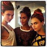 Karlie Kloss, Joan Smalls, and Cara Delevingne posed backstage together before hitting the runway at Oscar de la Renta. Source: Instagram user caradelevingne