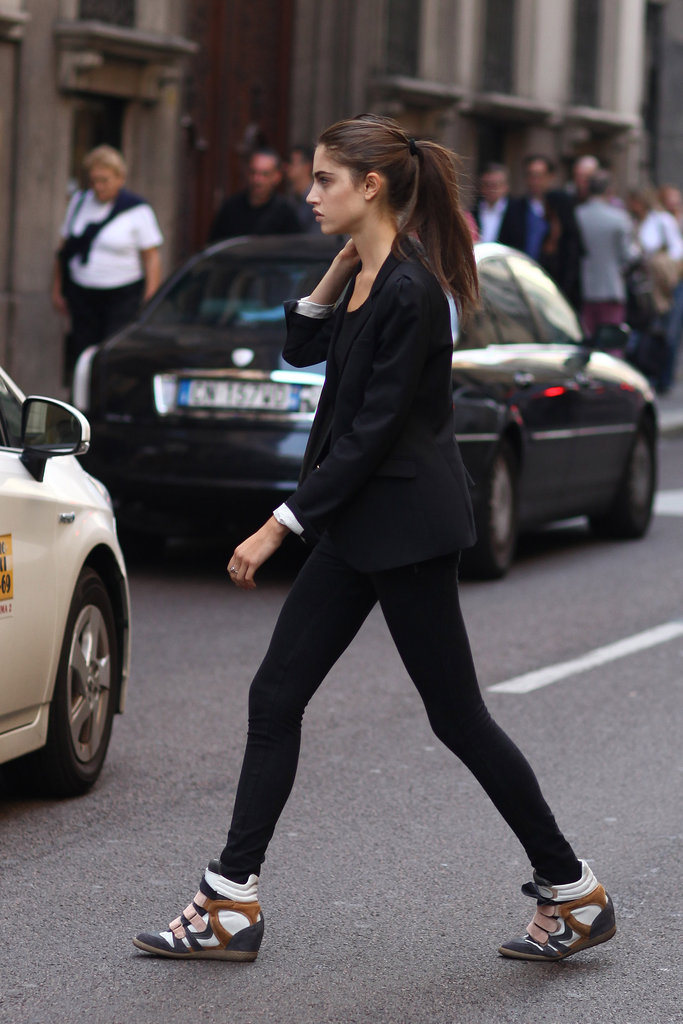 We love the way her cool-girl kicks played off a sophisticated blazer.