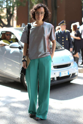 A metallic tee dressed up a pair of flowy trousers.
