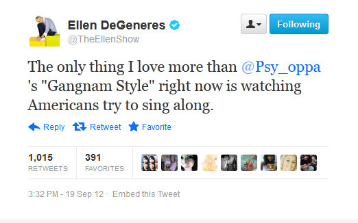 """Gangnam Style"" has a fan in Ellen DeGeneres."