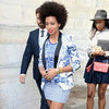 Solange Knowles Wearing Blue Printed Blazer