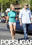 Britney Spears wore a fitted teal top while running an errand.