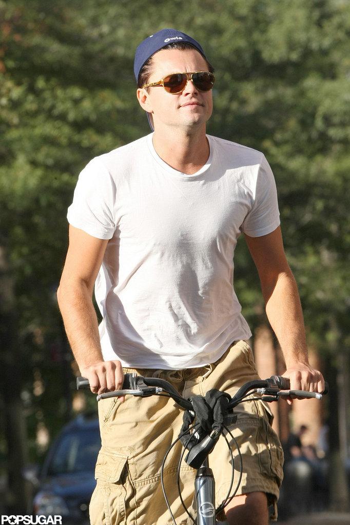 Leonardo DiCaprio rode his bike in NYC.
