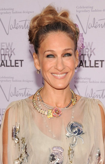 A closer look at SJP's antique Fred Leighton necklace.