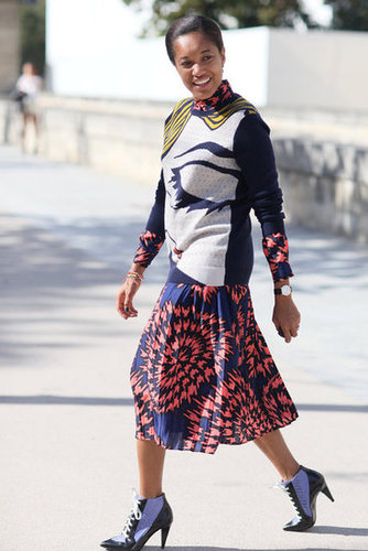 Playful print-mixing livened up this look.