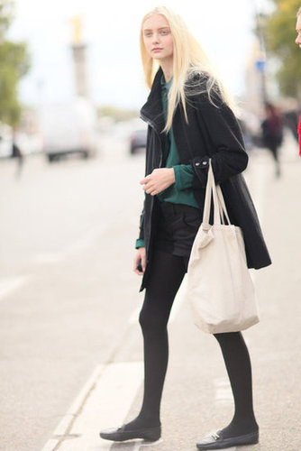 Understated but hardly boring, thanks to preppy details like classic loafers and a pop of emerald green.