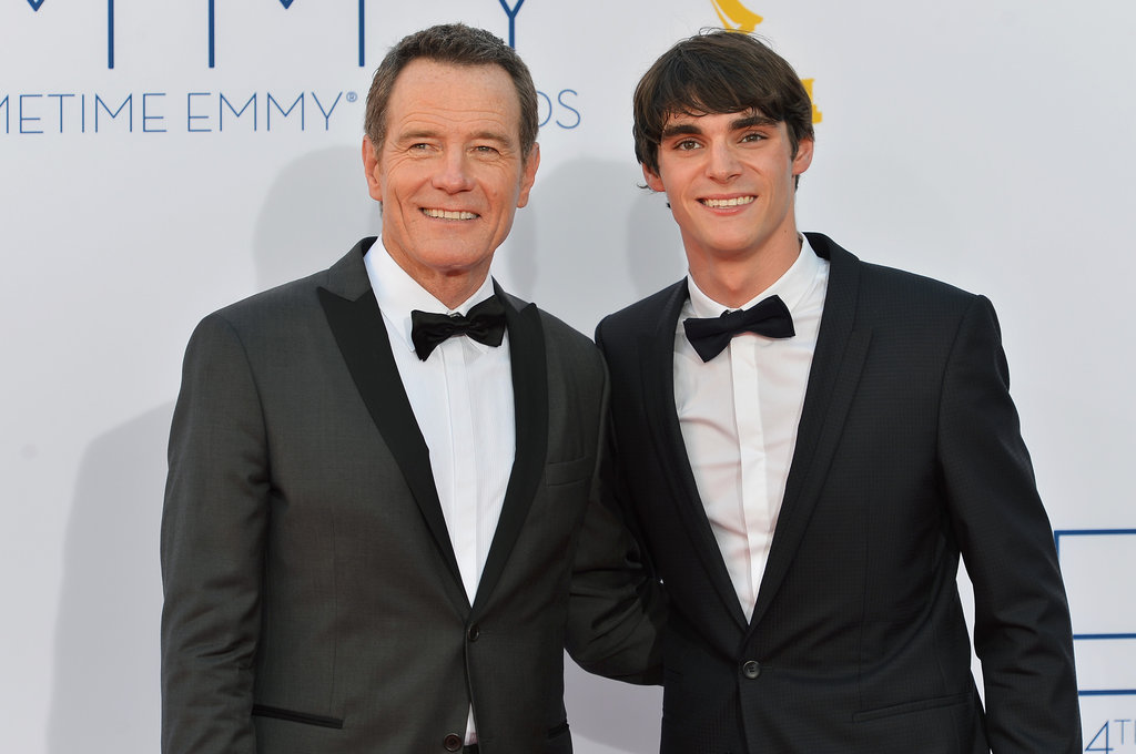 Nominee Bryan Cranston stood by his Breaking Bad costar RJ Mitte at the Emmys.
