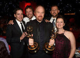 Louis C.K. held up his pair of Emmys after the show.