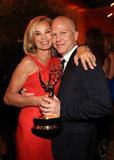 Emmy winner Jessica Lange had her arm around Ryan Murphy after the Emmys.