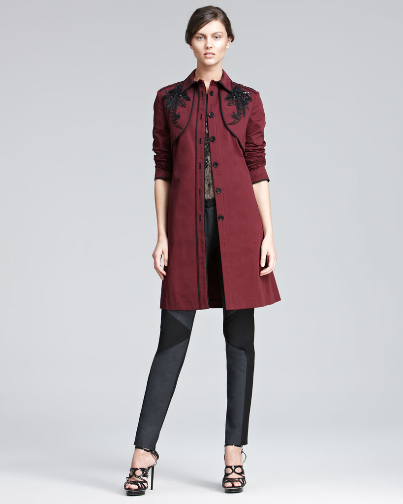 This may be a splurge, but the oxblood-red hue and gorgeous shoulder embroidery will make this trench coat the kind of outerwear that lasts forever. Jason Wu Embroidered Twill Trenchcoat ($1,995)