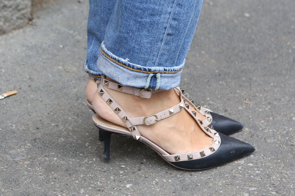 Studded Valentino heels dressed up basic denim. Source: IMAXtree