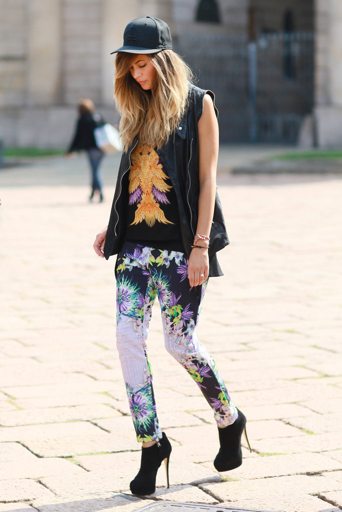 A retro baseball cap provides an athletic spin on this floral ensemble. Source: Greg Kessler